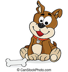 Dog - Cartoon illustration of a cute dog sitting down in...