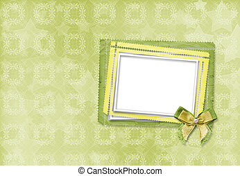 Green card for invitation or congratulation with frame and...