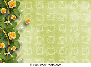 Beautiful greeting card with yellow roses - Beautiful...