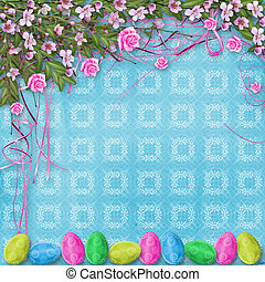 Pastel background with eggs and roses to celebrate Easter -...