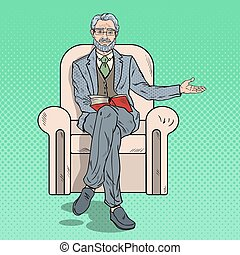 Pop Art Senior Businessman Sitting in Chair and Pointing Copy Space. Vector illustration