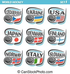 Vector set Flags of European Countries with Ice Hockey Puck:...