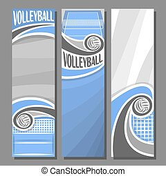 Vector set Vertical Banners for Volleyball: 3 template for...