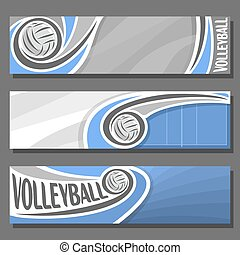 Vector set horizontal Banners for Volleyball: 3 cartoon...