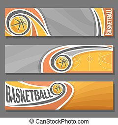 Vector horizontal Banners for Basketball: 3 cartoon covers...