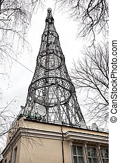Big tower, TV and radio broadcasting. Shukhov's radio tower - groundbreaking for the XX century hyperboloid design. Built in 1920-1922 by the academician V. G. Shukhov.