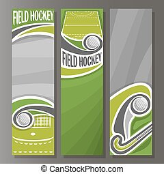 Vector Vertical Banners for Field Hockey: 3 template for...