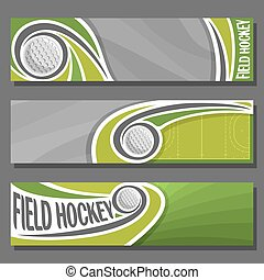 Vector horizontal Banners for Field Hockey: 3 cartoon covers...