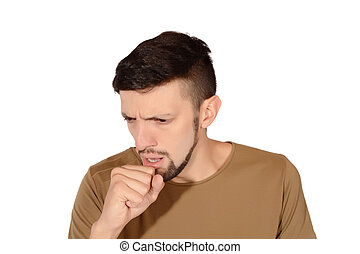 Young man coughing.