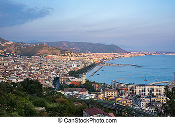 Aerial view of Salerno at sunset