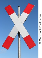 Give priority to rail transport - German road sign: Give...