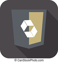 web development shield abstract square sign isolated icon on...