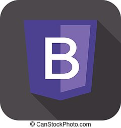 web development shield sign letter B violet isolated icon on...