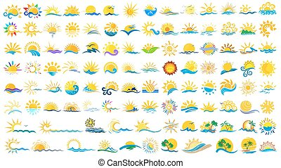 Logos sun and sea. - A set of logos with the sun and the...