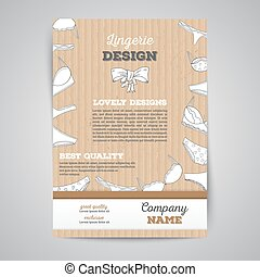 Lingerie brochure template layout with cardboard texture