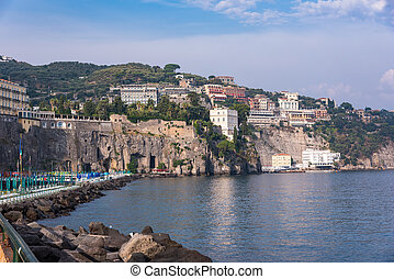 Cliff coast in Sorrento town in southern Italy