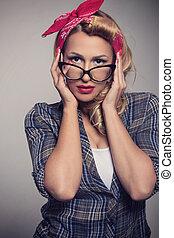 Style, Lunettes soleil, épingle, haut,  retro,  girl, blond