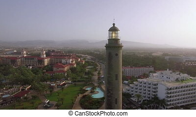 Resort area and Maspalomas Lighthouse, aerial view - Aerial...