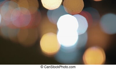 Bokeh background of night city and transport lights -...