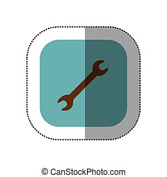 sticker color square with wrench tool icon