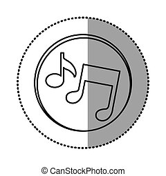 monochrome contour with circle sticker of musical notes...