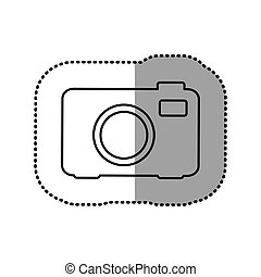 monochrome contour sticker of analog camera