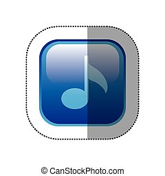 sticker blue square frame with musical note vector...