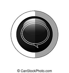 sticker black circular frame with speech bubble icon