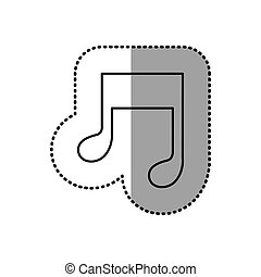 monochrome contour sticker of musical note vector...