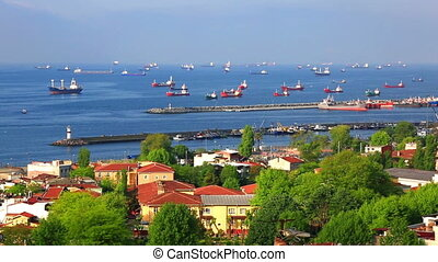 Sea of Marmara and ships - Marine ships are at anchor in the...