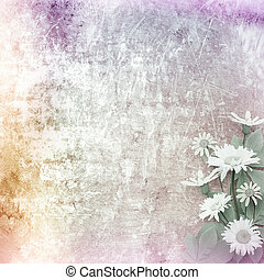 A cracked rusty metal wall with beautiful bunch of daisy for design