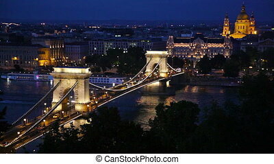 Famous Chain Bridge in Budapest - The Chain Bridge in...