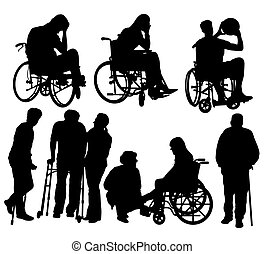 Disabled People Activity Silhouettes