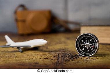 Vintage Air travel equipments with retro compass and camera...