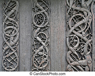 Viking carvings from Urnes viking Church - A common...