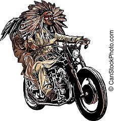 on the bike - native americans drive a motorcycle, chopper -...