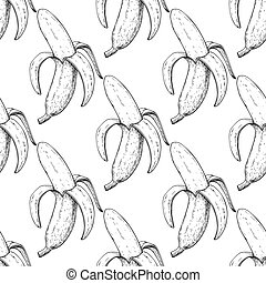 Banana vector seamless pattern. Isolated hand drawn peel object