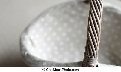 empty wicker basket rotating - close up of empty wicker...