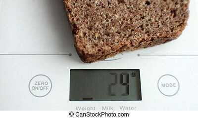 Electronic digital kitchen scale with slice of bread