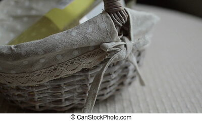 wine bottle in wicker basket - Sealed wine bottle in wicker...