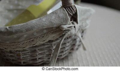 wine bottle in wicker basket - Sealed wine bottle in wicker...