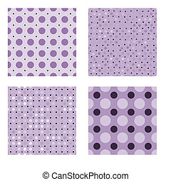 Seamless tiling dot textures - Lilac and black seamless...