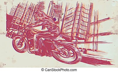 An woman riding motorcycle. An hand drawn vector. Freehand drawing.