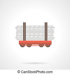 Rail flatcar flat color vector icon - Red rail flatcar with...