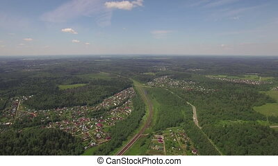 Aerial shot of summer houses in the woods, Russia - Aerial...