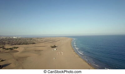 Gran Canaria coast, aerial view - Flying over the coast with...