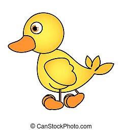 caricatura, amarillo,  animal, pato, vista, lado, icono