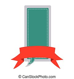 sticker large rectangle dialog box design with ribbon vector...