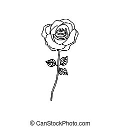 silhouette rose with stem and leaves floral design