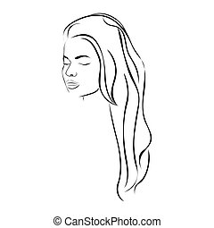 sketch female face sensual silhouette with long hairstyle
